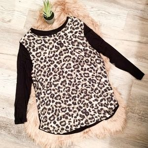 ASOS Black and Leopard Long Sleeved Top